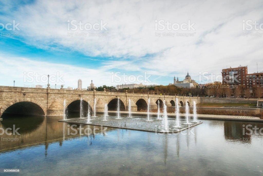 Fountains at the Segovia bridge on the Manzanares river. Madrid, Spain. stock photo