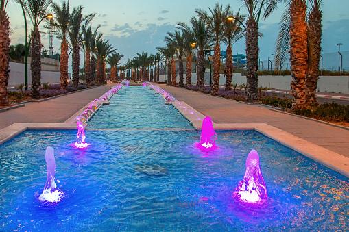Fountains evening light