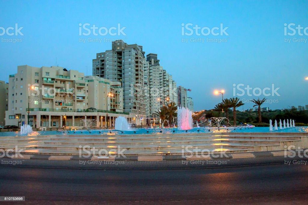 Fountains evening light stock photo