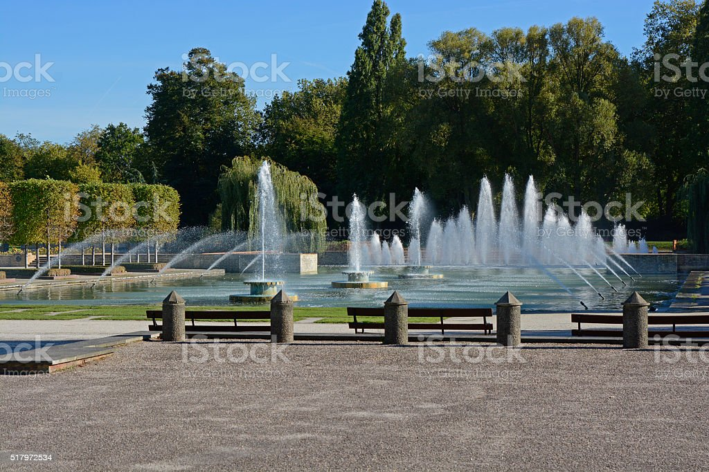 Fountains in Battersea Park, London, England stock photo