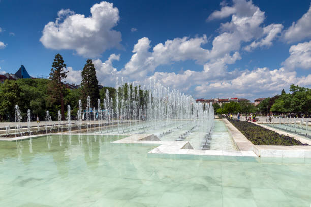 fountains in front of  national palace of culture in sofia, bulgaria - conferences stock photos and pictures