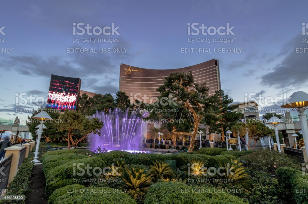 Fountains in front of Wynn Hotel and Casino at sunset - Las Vegas, Nevada, USA stock photo