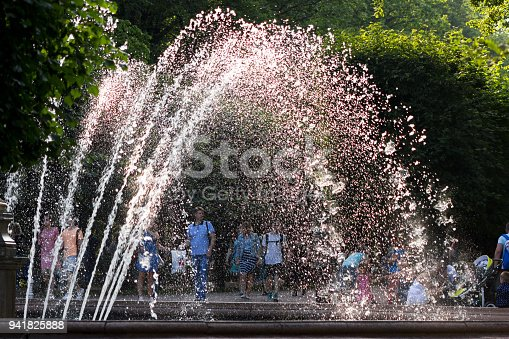 Summer cityscape of fountains in Peterhof, Saint-Petersburg at sunny day