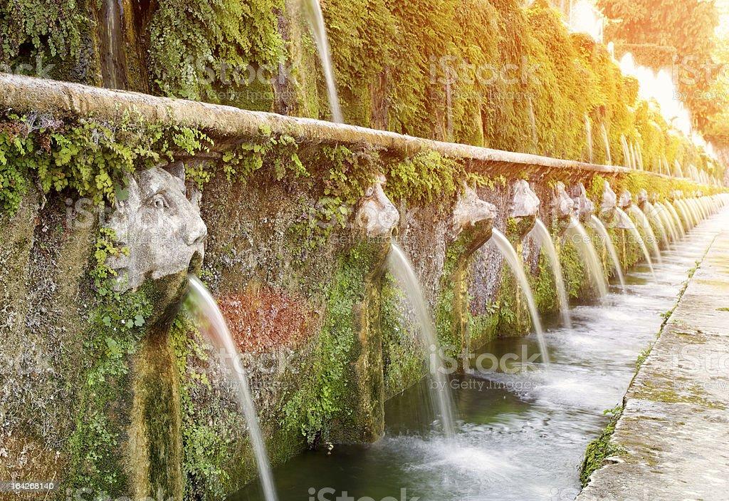 Fountains In Villa D'Este Gardens royalty-free stock photo