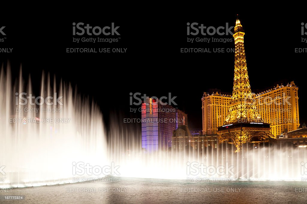 Fountains of Bellagio with Las Vegas Strip in the background royalty-free stock photo