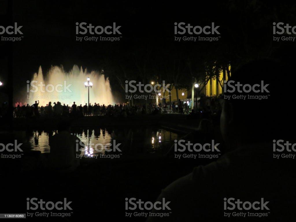fountains show,  Barcelona stock photo