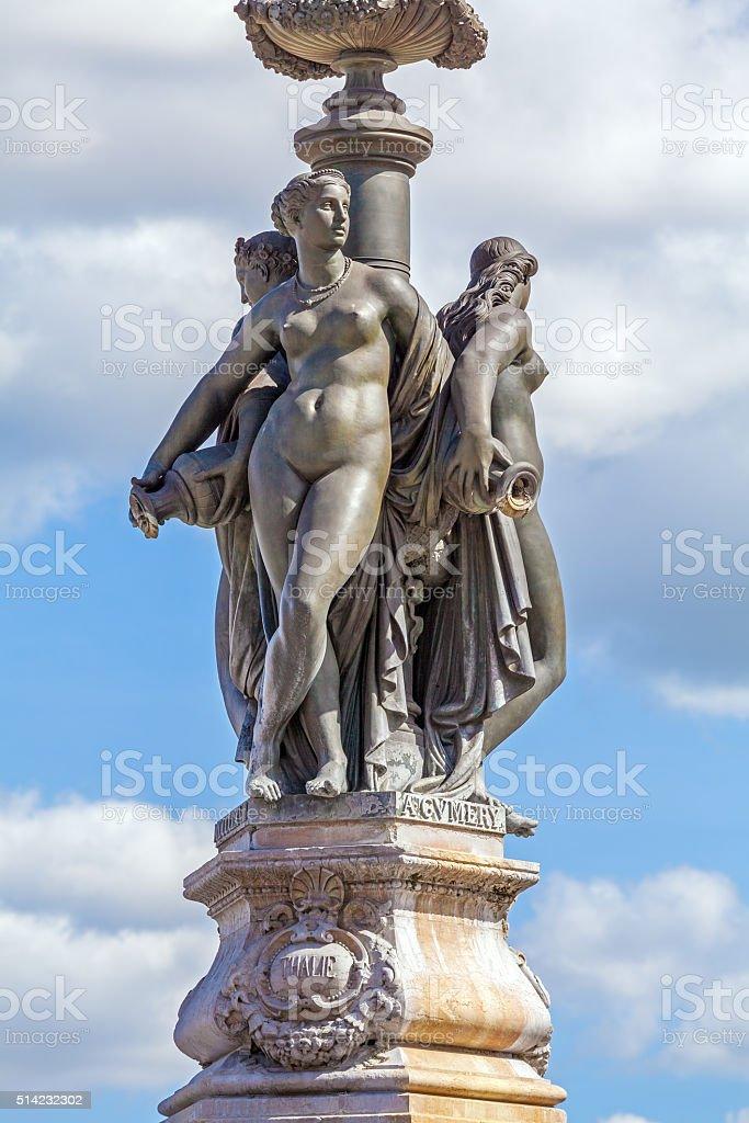Fountaun Three Graces - symbol of Bordeaux stock photo