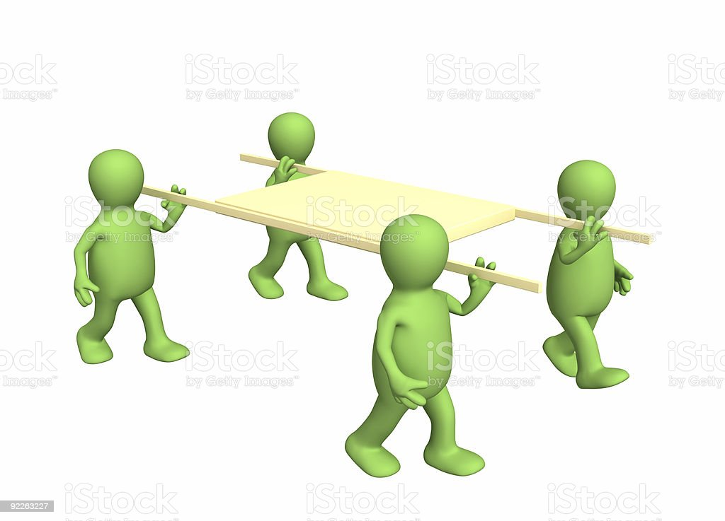 Four 3d persons - puppets, carrying a stretcher stock photo