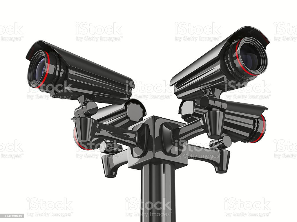 Four 3D security cameras isolated on white background royalty-free stock photo