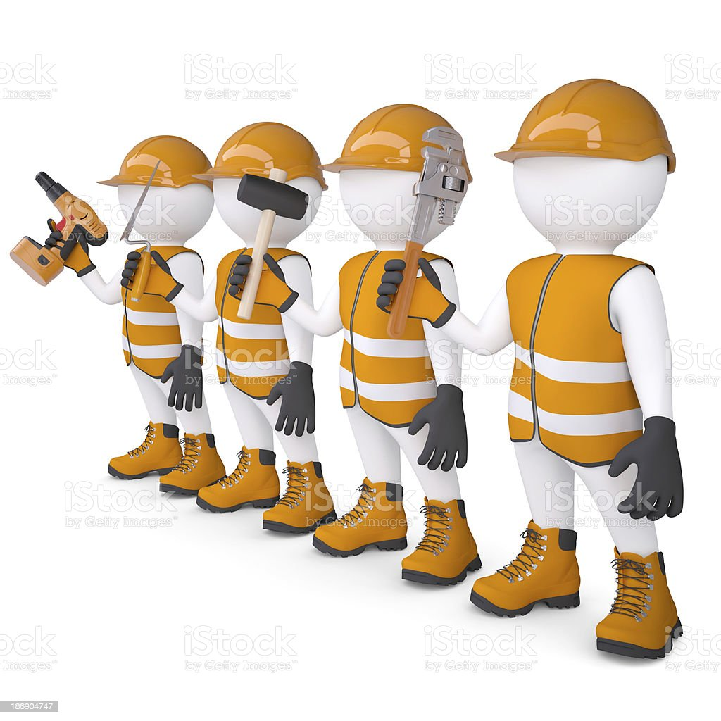 Four 3d white mans in overalls with a tools royalty-free stock photo
