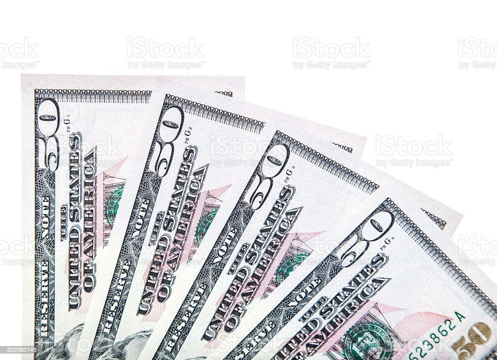 Four 50 US dollar notes stock photo