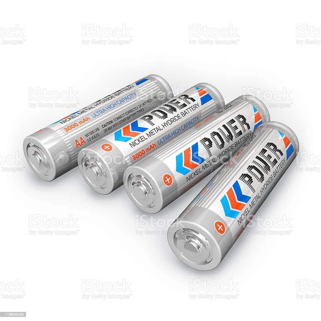 Four AA rechargeable batteries stock photo
