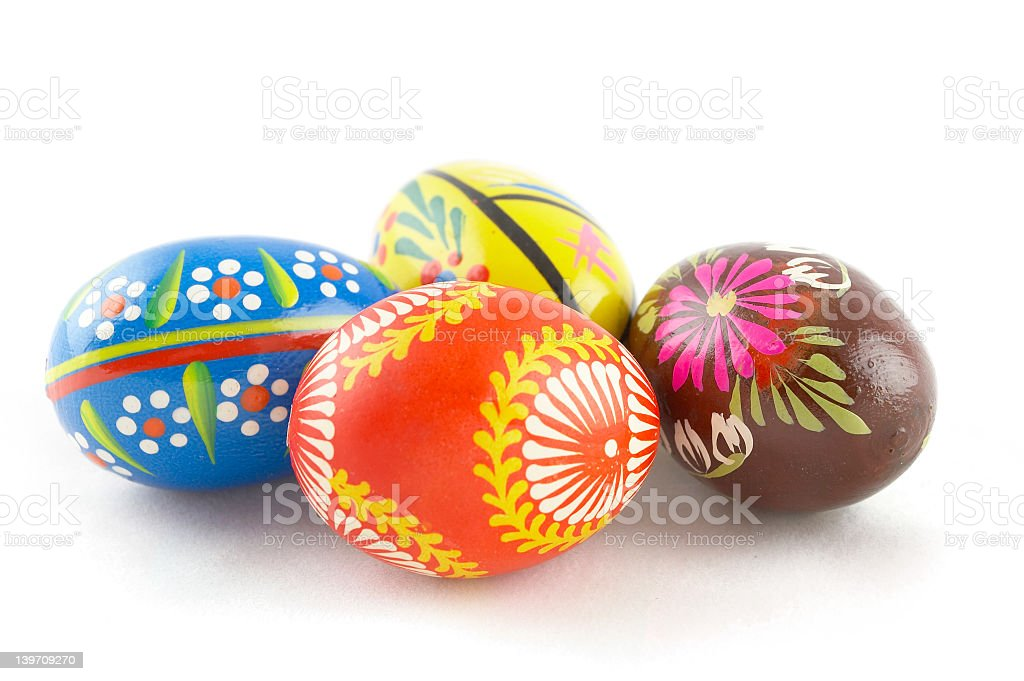 Four abstract and colorful designs Easter eggs royalty-free stock photo