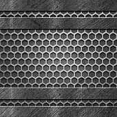 Four Abstract Metal Grunge Panels on Hexagonal Cells Backdrop