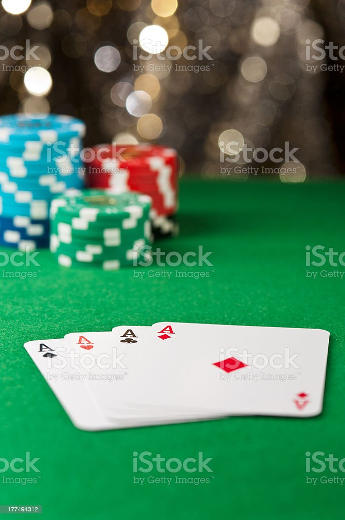 Four ace on a poker table royalty-free stock photo