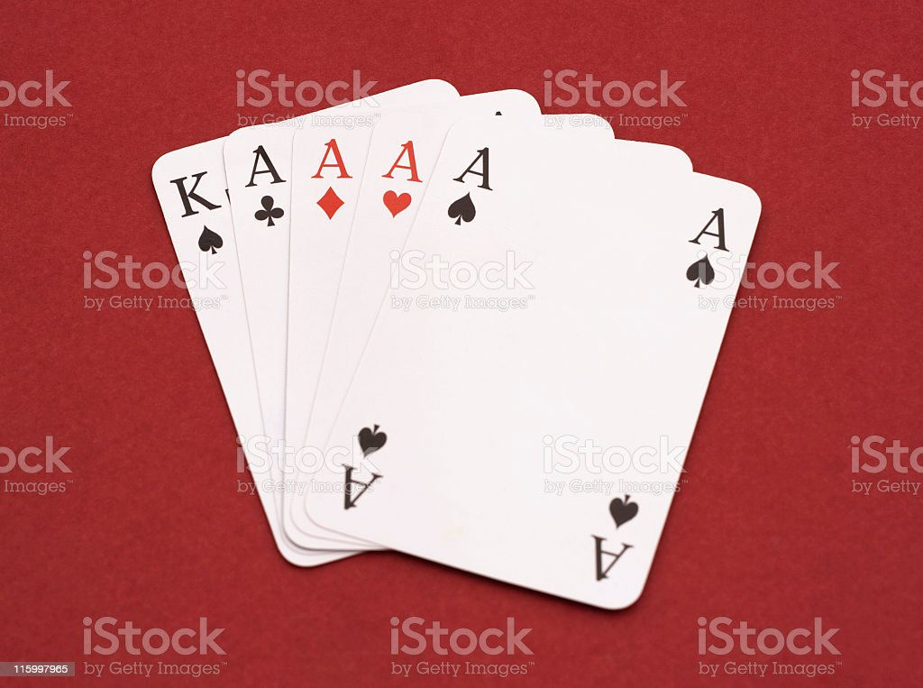 Four Aces and a king of spades stock photo