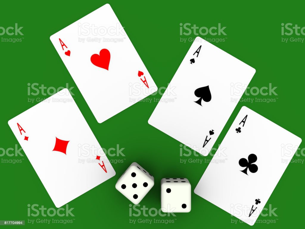Four aces and seven points stock photo
