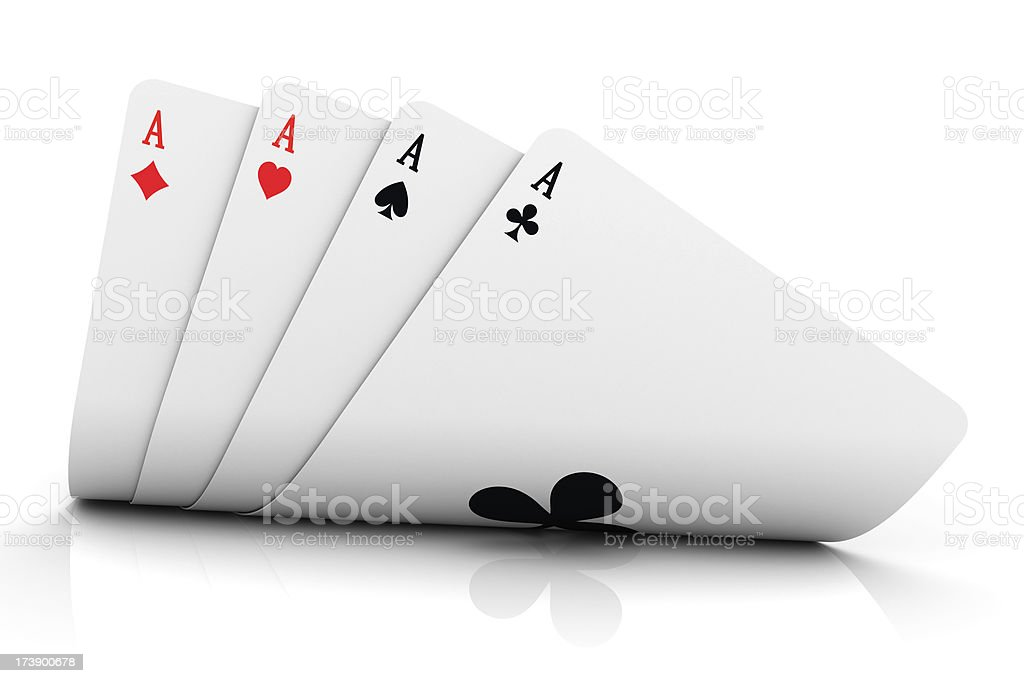 Four aces have been dealt on a white background stock photo