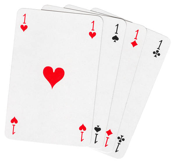 Four aces isolated on white stock photo