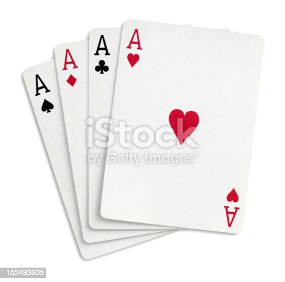 Four aces on white with clipping path
