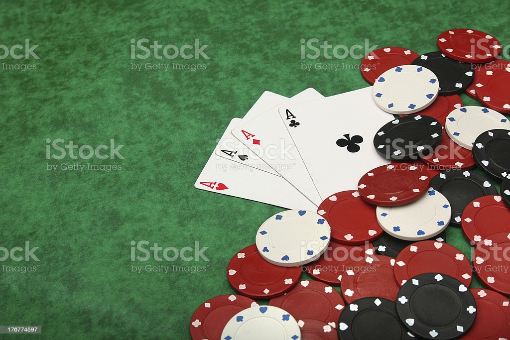 Four aces with gambling chips royalty-free stock photo