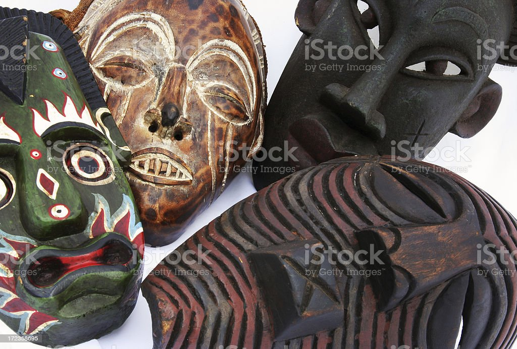 Four African masks royalty-free stock photo
