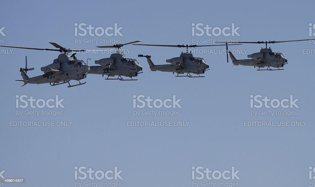 Four AH-1W Super Cobras stock photo