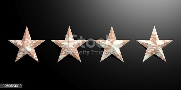 istock Four American military pattern stars isolated on black background. 3d illustration 1060623312