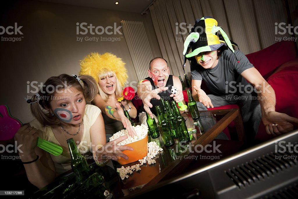 Four angry fans royalty-free stock photo