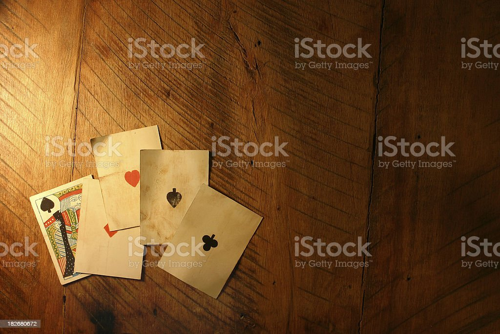 Four Antique Aces royalty-free stock photo