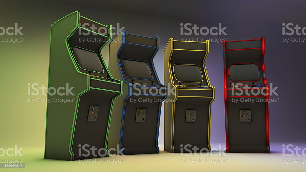 Four Arcade Video Game Machines stock photo