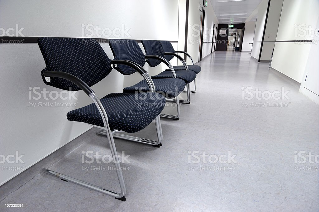 Four armchairs in a hospital floor royalty-free stock photo