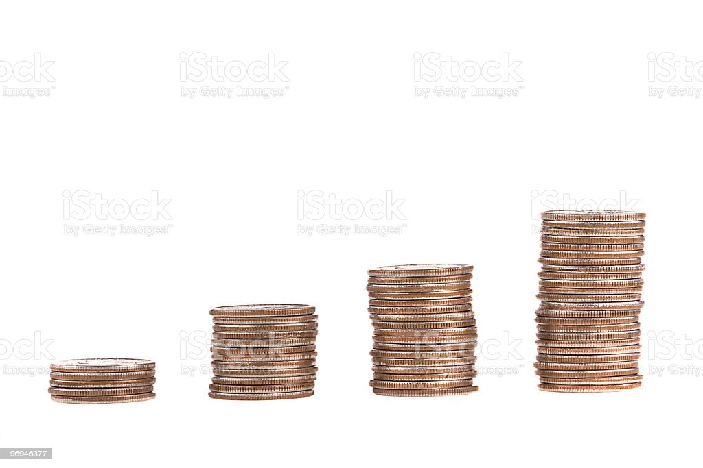 four ascending stacks of dimes royalty-free stock photo