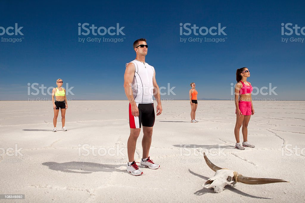 Four Athlete that are focused royalty-free stock photo