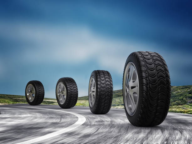 Four automobile wheels on the road. 3d render stock photo