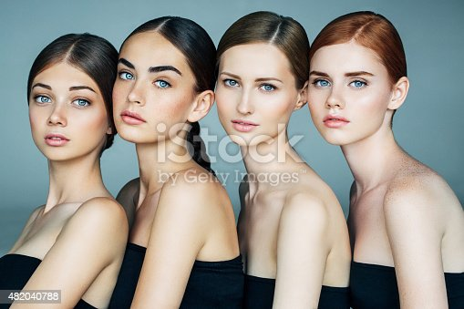 istock Four beautiful girls with a natural make-up 482040788