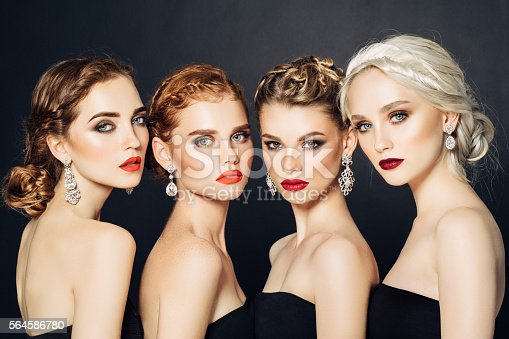 istock Four beautiful girls with make-up 564586780