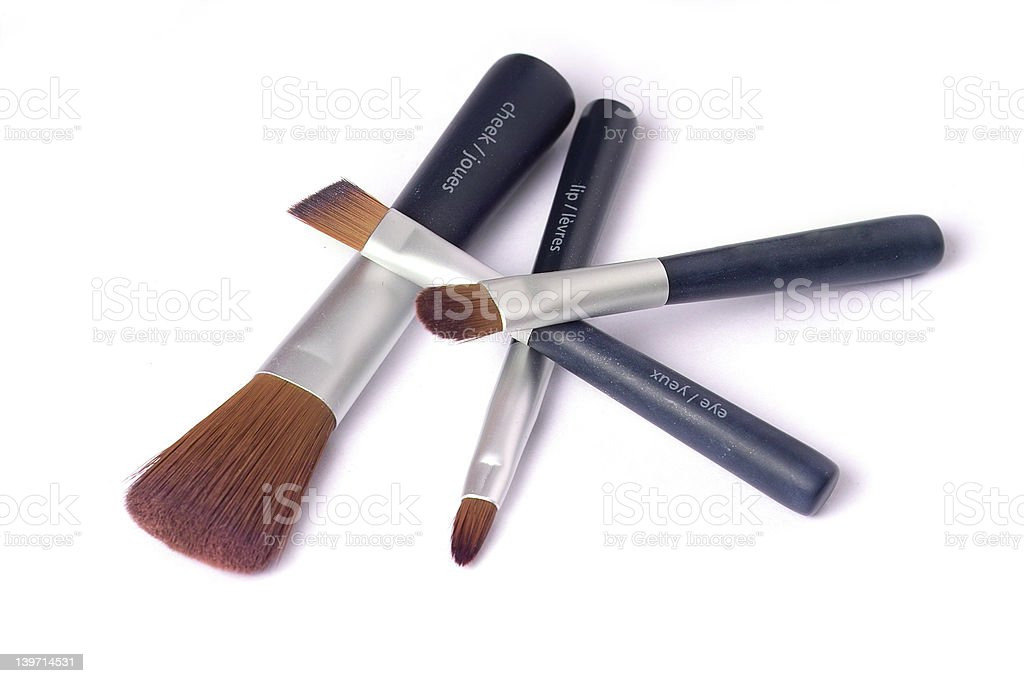 Four beauty brushes royalty-free stock photo