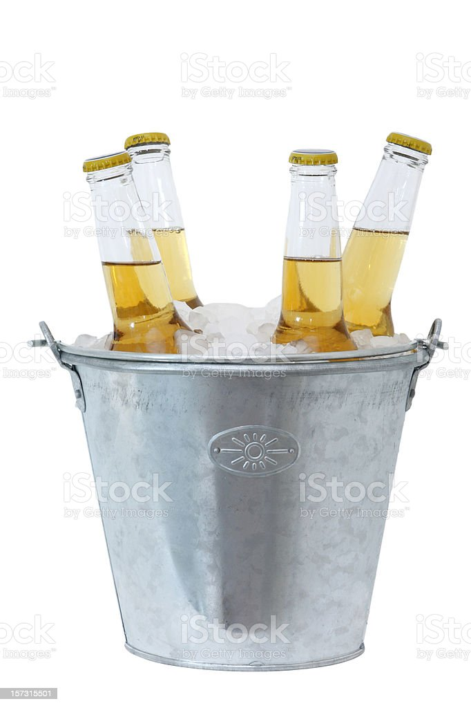 Four beer bottles full and in a stainless bucket of ice royalty-free stock photo