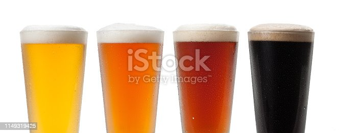 Four beer flavors on white background