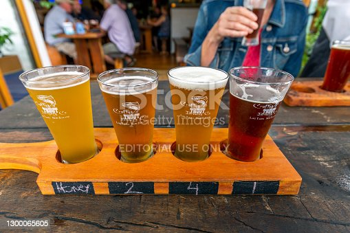 Taupo, New Zealand - March 31, 2018: Four Beers for Tasting in BierKAFE a Crafty TROUT Brewery in Taupo, New Zealand