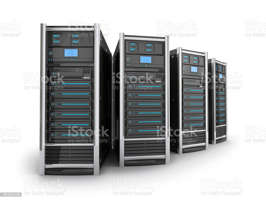 Four big server stock photo