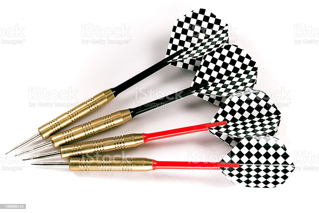 Four black and red darts royalty-free stock photo