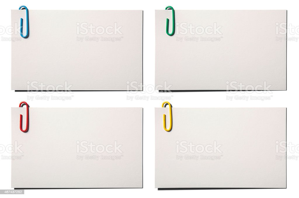 Four blank business card isolated on white with clipping path stock photo