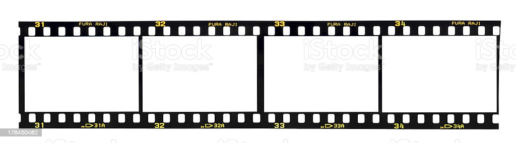 Four blank film frames on a reel stock photo