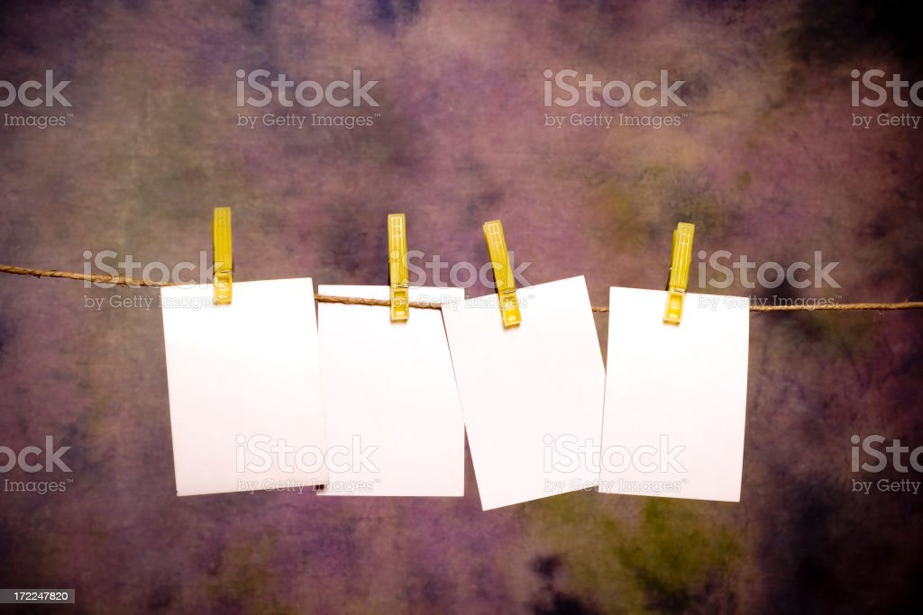 Four Blank memo Sheets with place for your text stock photo