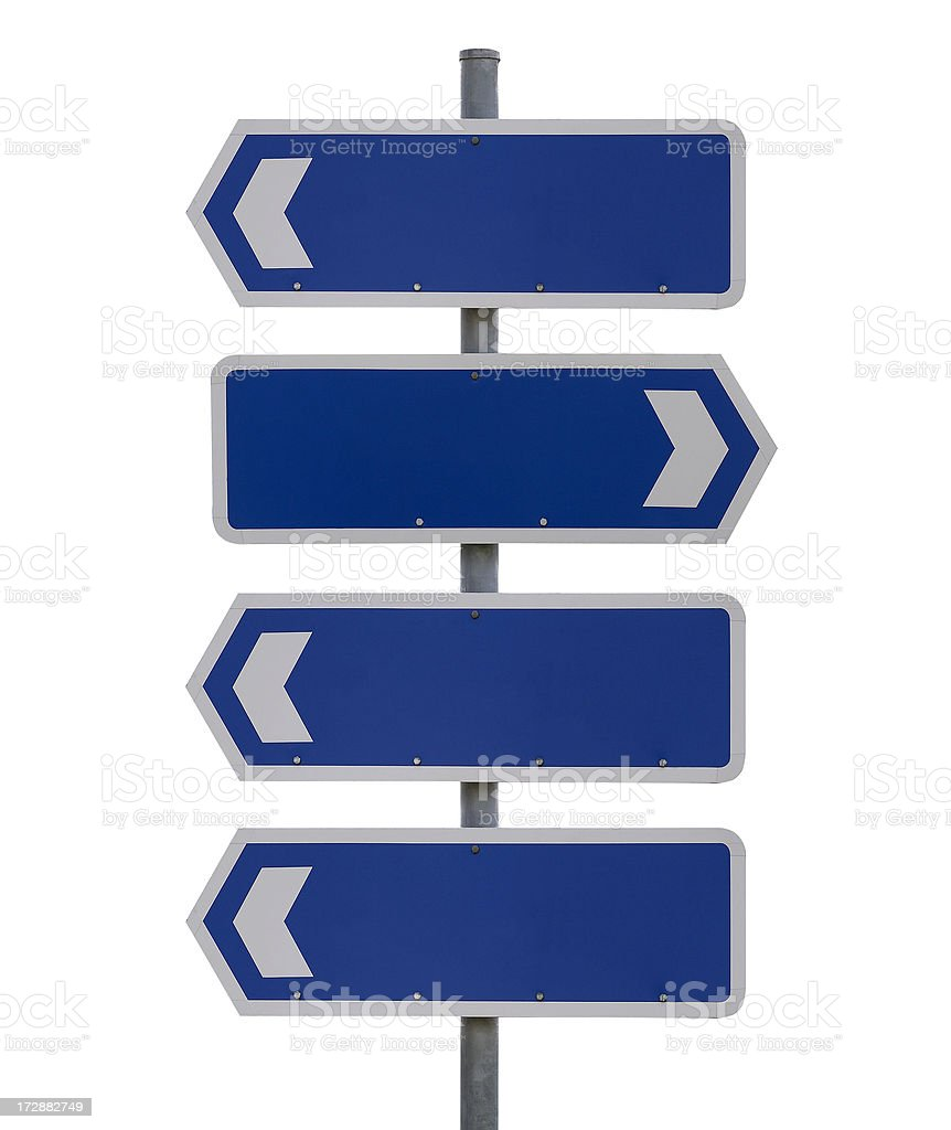 Four blank signs on white royalty-free stock photo