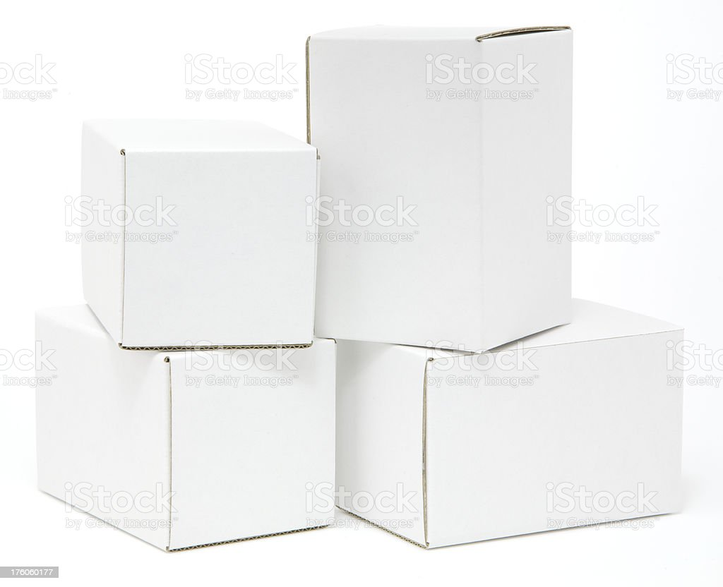 Four blank white cartons isolated royalty-free stock photo
