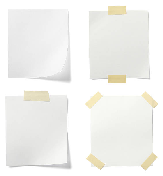 four blank white pages taped to background - adhesive tape stock photos and pictures