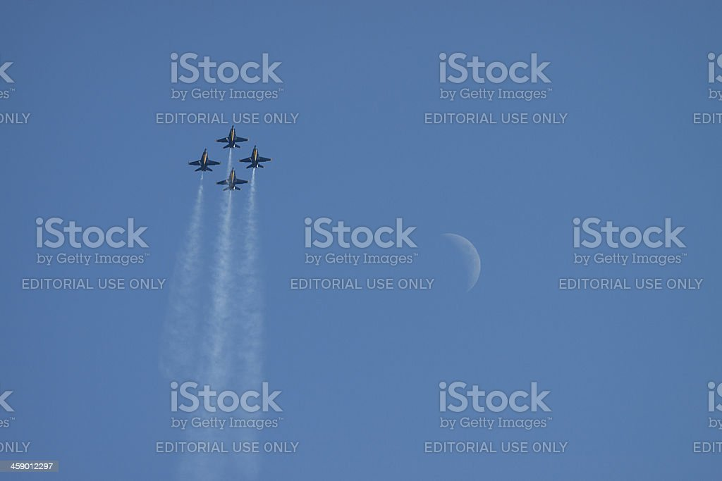 Four Blue Angels With The Moon royalty-free stock photo